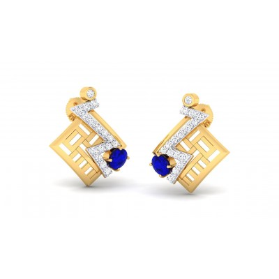 SATVI DIAMOND STUDS EARRINGS in Topaz & 18K Gold