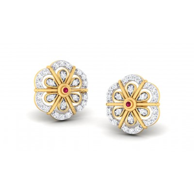 GULAB DIAMOND STUDS EARRINGS in 18K Gold