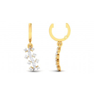 LOTUS DIAMOND DROPS EARRINGS in 18K Gold