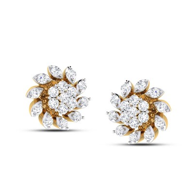 TINSLEY DIAMOND STUDS EARRINGS in 18K Gold