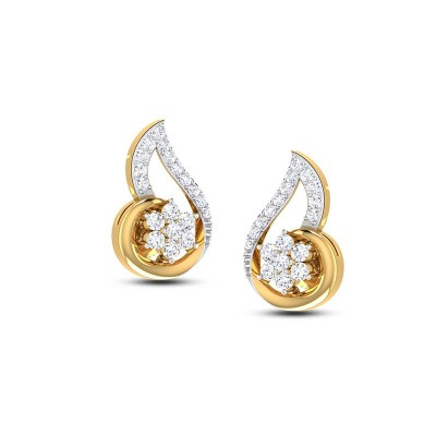 KUNSHI DIAMOND STUDS EARRINGS in 18K Gold