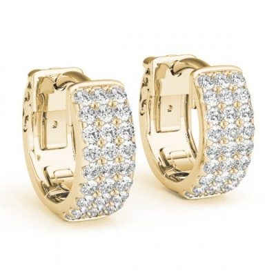 MARINA DIAMOND HOOPS EARRINGS in 18K Gold