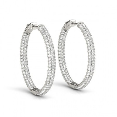 DANI DIAMOND HOOPS EARRINGS in 18K Gold