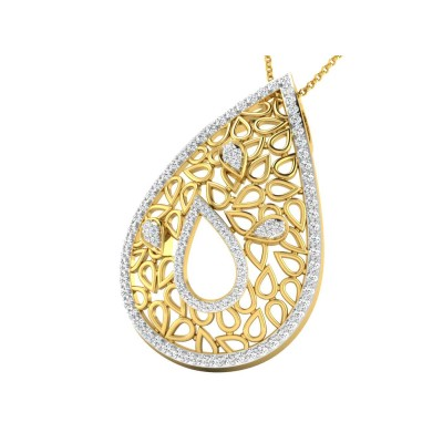 SHARA DIAMOND FLORAL PENDANT in 18K Gold