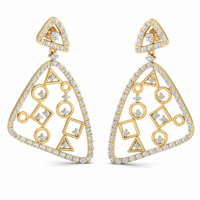 RUBYE DIAMOND DROPS EARRINGS in 18K Gold