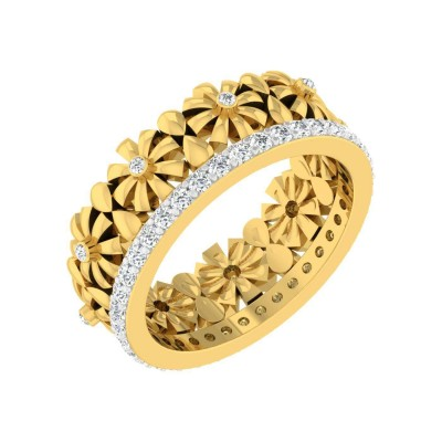 KRYSTA DIAMOND BANDS RING in 18K Gold