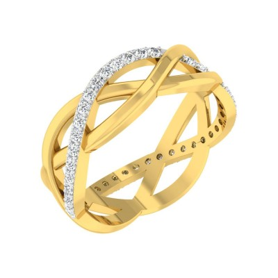ROSAMARIA DIAMOND BANDS RING in 18K Gold