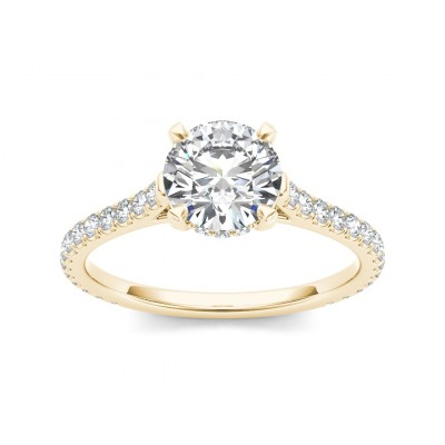 MIGDALIA DIAMOND SOLITAIRE RING in Cubic Zirconia & 18K Gold