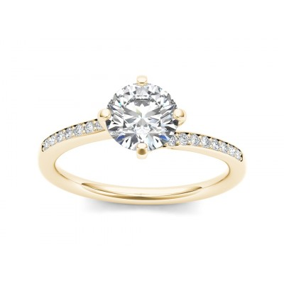 DEVORA DIAMOND SOLITAIRE RING in Cubic Zirconia & 18K Gold