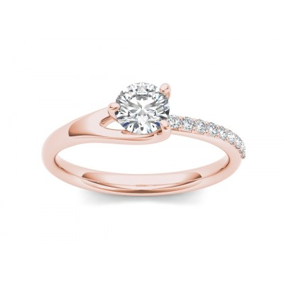 OZIE DIAMOND SOLITAIRE RING in Cubic Zirconia & 18K Gold