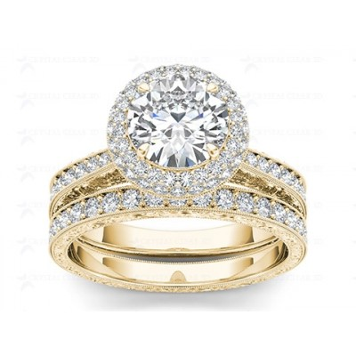 KATHELEEN DIAMOND SOLITAIRE RING in Cubic Zirconia & 18K Gold