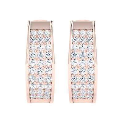 PEARLINE DIAMOND HOOPS EARRINGS in 18K Gold