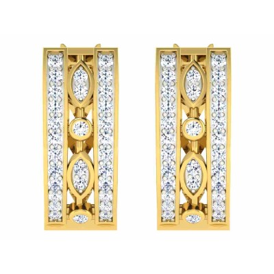 KRYSTINA DIAMOND HOOPS EARRINGS in 18K Gold