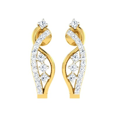 LISBETH DIAMOND HOOPS EARRINGS in 18K Gold