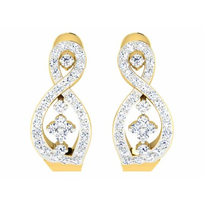 HANNAH DIAMOND HOOPS EARRINGS in 18K Gold
