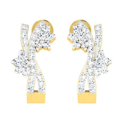 MARCHELLE DIAMOND HOOPS EARRINGS in 18K Gold
