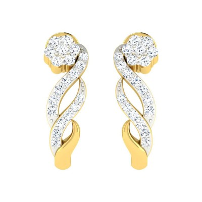 RUBYE DIAMOND HOOPS EARRINGS in 18K Gold