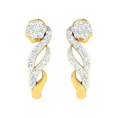 RUBYE DIAMOND HOOPS EARRINGS in 18K Gold