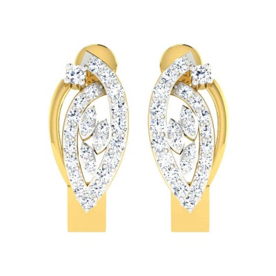 CHERISH DIAMOND HOOPS EARRINGS in 18K Gold