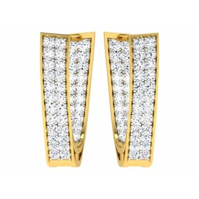 BERNEICE DIAMOND HOOPS EARRINGS in 18K Gold