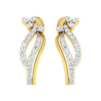 ESTELLA DIAMOND HOOPS EARRINGS in 18K Gold