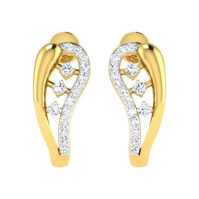 MINDI DIAMOND HOOPS EARRINGS in 18K Gold