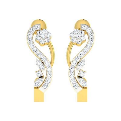 MERIDETH DIAMOND HOOPS EARRINGS in 18K Gold