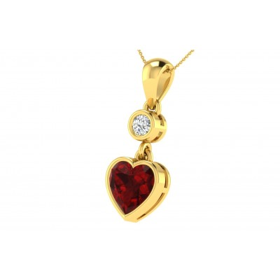 SHANDI DIAMOND FASHION PENDANT in Ruby & 18K Gold