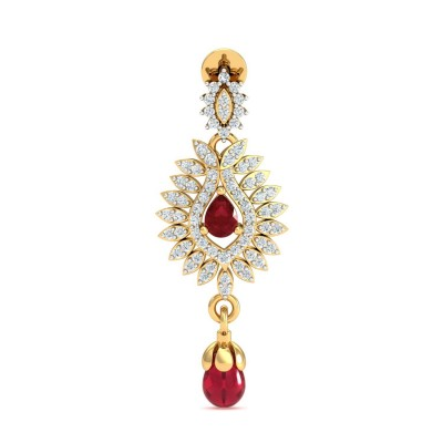 CARITA DIAMOND DROPS EARRINGS in Ruby & 18K Gold