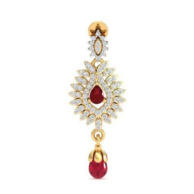 CARITA DIAMOND DROPS EARRINGS in Ruby & 18K Gold