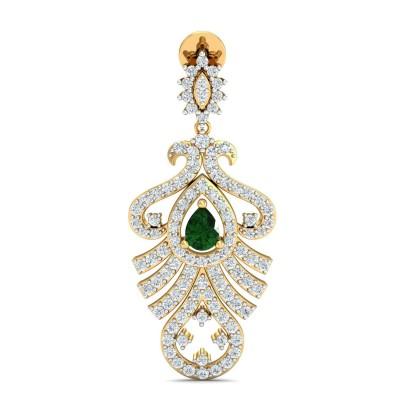 RANA DIAMOND DROPS EARRINGS in Emerald & 18K Gold