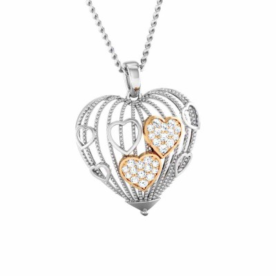 JEANICE   DIAMOND HEARTS PENDANT in 18K Gold
