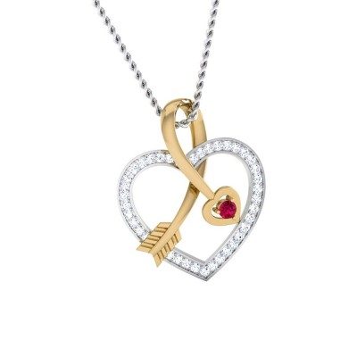 EARLEAN   DIAMOND HEARTS PENDANT in Ruby & 18K Gold