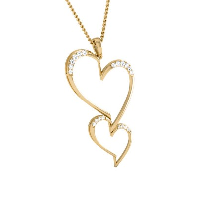 TIMIKA   DIAMOND HEARTS PENDANT in 18K Gold