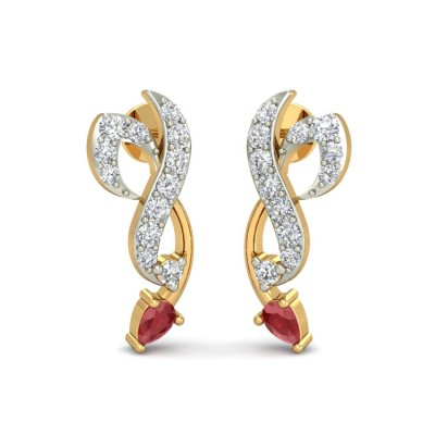 RAJASI DIAMOND STUDS EARRINGS in Ruby & 18K Gold