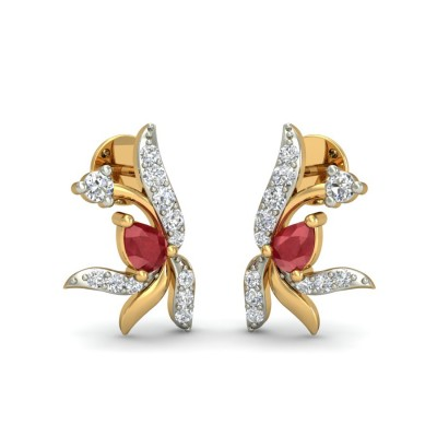 VAMIKA DIAMOND STUDS EARRINGS in Ruby & 18K Gold