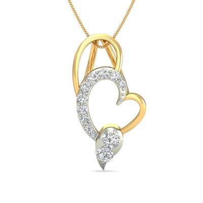 ABHIPSA DIAMOND HEARTS PENDANT in 18K Gold