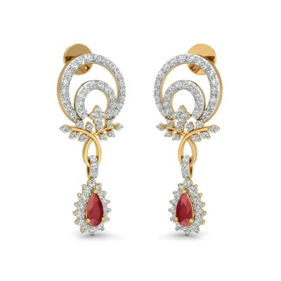 DEISY DIAMOND DROPS EARRINGS in Ruby & 18K Gold