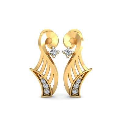 AMBER DIAMOND STUDS EARRINGS in 18K Gold