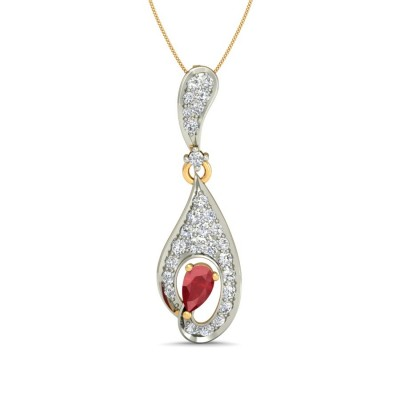 CELINE DIAMOND FASHION PENDANT in Ruby & 18K Gold