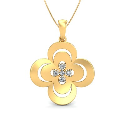 SAMIYAH DIAMOND FLORAL PENDANT in 18K Gold