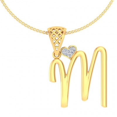 SUNETRA DIAMOND INITIALS PENDANT in 18K Gold