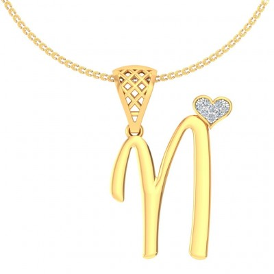 SHRENA DIAMOND INITIALS PENDANT in 18K Gold