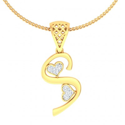 ANJU DIAMOND INITIALS PENDANT in 18K Gold
