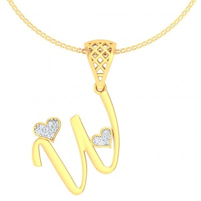 MANIKA DIAMOND INITIALS PENDANT in 18K Gold