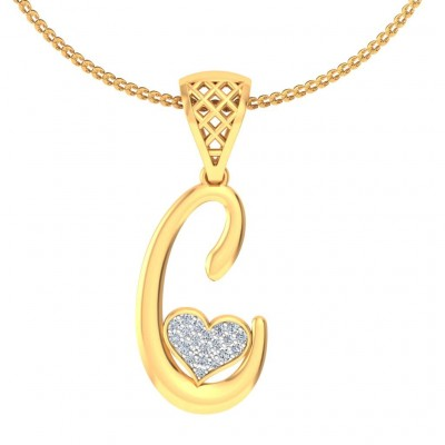 ARADHYA DIAMOND INITIALS PENDANT in 18K Gold