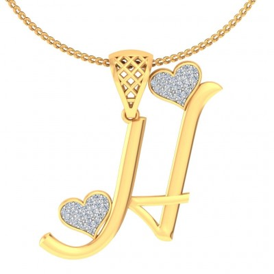 SHILNA DIAMOND INITIALS PENDANT in 18K Gold
